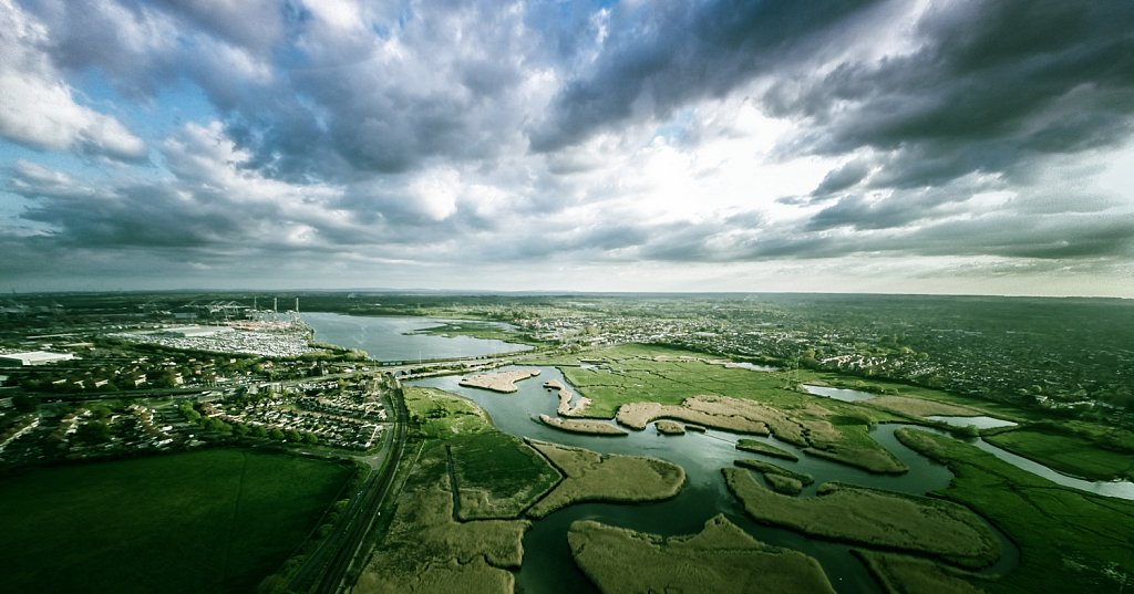 River Test Aerial Photo, Nursling, Hampshire, UK
